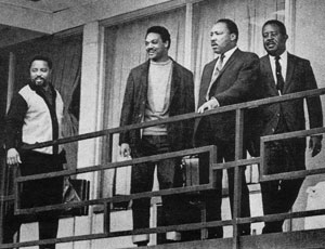 Dr. M.L. King, Jr. and friends moments before his death